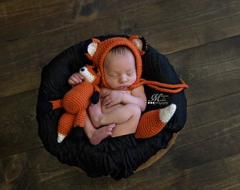 Crochet Pattern - Newborn Hat and Unattached Tail with Matching Amigurumi Fox Plush, Crochet Newborn Fox Photo Prop, Newborn Bonnet Fox Hat