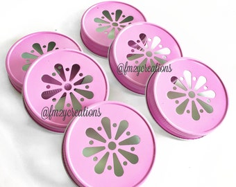 PINK Color Daisy Lids--(6) Daisy Cut  Pink Mason Jar Lids, Metal Jar Lids, Mason Jar Lids, Wedding Daisy Lids