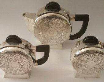 Exquisite Find!!!!  1920s Art Deco Tea Service Set inSilver Plate with Etching.  Bakelite Handles