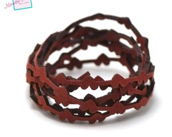 """1 m cord strap perforated suede """"bundle"""" 6 x 1, 8 mm, Red"""