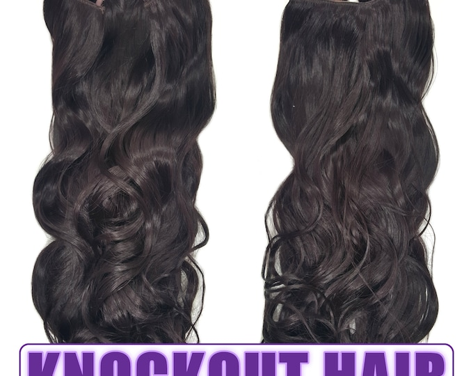 "Fits like a Halo Hair Extensions 20"" - 150 Grams 100% Premium Fiber Wavy Hair (Dark Plum Brown - #99J)"