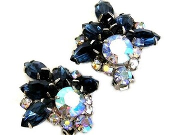 Sapphire, Clear and Light Blue AB Clip Earrings