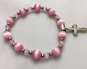 Pink tigereye faceted beaded bracelet