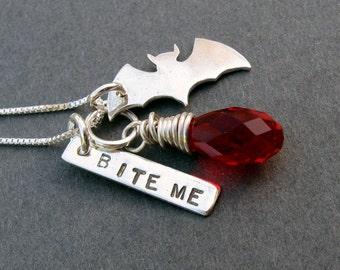 sterling silver bat pendant necklace. Bite Me