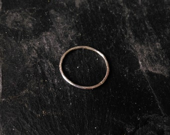 Hammered Texture, Silver Stacking Ring, Minimalist Style.