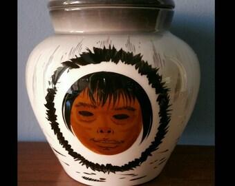 Rare Sascha Brastoff Alaska series lidded  ginger jar.