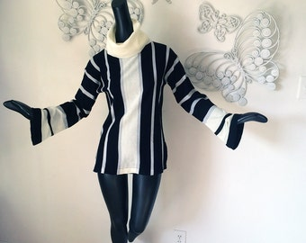 MOD Vintage 70s Cowl Neck Hippie Sweater 1970s Bell Sleeve Striped Tunic Top Groovy Almost Famous Style Black Winter White Huge Turtleneck S