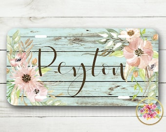 Personalized License Plate - Monogrammed Floral License Plate Frame - Watercolor Pink Flowers - Rustic Wood - License Plate & Frame Set