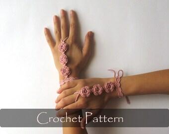 CROCHET PATTERN - Wedding Mittens Crochet Bridal Cuffs Pattern Hand Jewelry Tutorial Crochet Hand Jewelry PDF - P0028