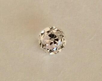 Super Sized 2.26 Carat Sparkling Old European Antique Cut Round 7mm White Colorless Sapphire