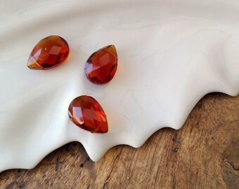 Set of 2 Dark 12x18mm amber faceted glass TEARDROP beads