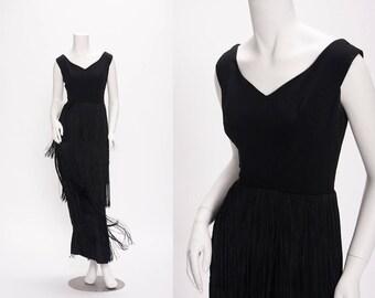 black fringed evening gown vintage 1960s • Revival Vintage Boutique