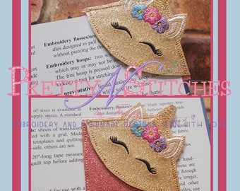 Digital Download IntheHoop Unicorn Face Book Corner Applique Embroidery Design for 4X4 hoop