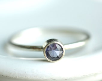 tiny iolite ring - custom sized stacking ring - textured delicate band - sterling silver