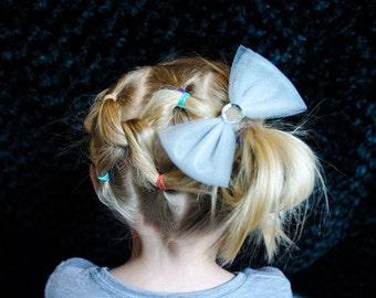 Hair Bow - Large Gray Tulle Hair Bow with Rhinestone Center, Girls Hair Bow, Baby Hair Bow