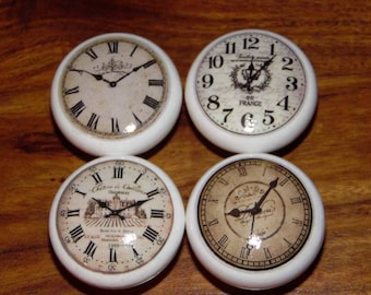 Clocks Limited  Edition set of Vintage Shabby Chic Style Wooden Cabinet Drawer Door KNOBS/HANDLES Porcelain Look set no 7