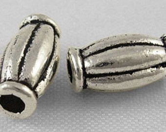 Tibetan Silver Bead, Oval, Antique Silver, 5mm wide, 10mm long, 2mm hole, 50 Beads