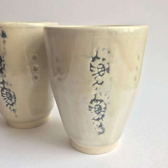 Creamy White and Indigo Tumbler, Handmade Pottery Cup, Mug without Handle