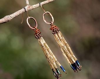 Copper Earrings Tassel Earrings Very Long Earrings with Gold Filled Hooks Yellow Blue Fringe Earrings Party Wear Free Shipping from Israel