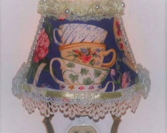 Royal Blue Floral Stacked Teacups Night Light with Crochet Lace and Yellow Ribbon