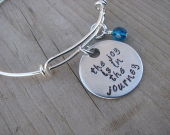 """Inspirational Bracelet- """"the joy is in the journey"""" with an accent bead of your choice- Hand-Stamped Adjustable Bracelet"""
