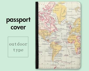 Passport Holder - World Map Passport Cover - Travel Gift - Passport Wallet - Passport Case - Travel Wallet for Men - Gift for Traveler  PC01