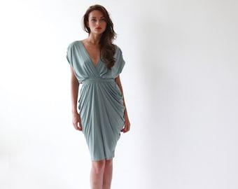 Sage formal bridesmaids gown, Knee length sea foam dress 1007