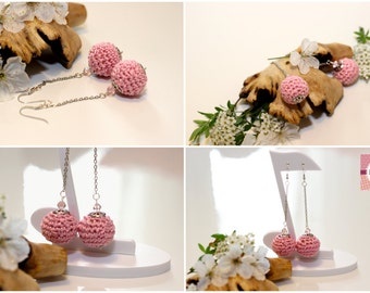 Handmade crochet earrings, crochet, cotton, pink quartz, balls-ball Model