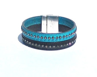 Black and Turquoise Leather Rhinestone Bracelet Czech crystals rocker girl glam fashion style magnetic clasp closure