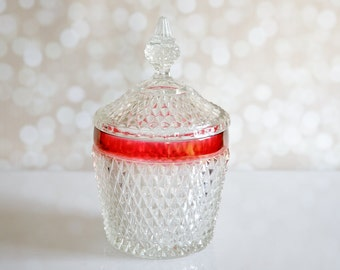 Elegant Vintage Indiana Glass Covered Ice Bucket