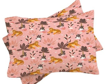 Sweet Tiger Jungle Pink Pillow Sham, Jungle Themed Girls Bedroom Pillow Sham Bedroom Decor, Spring Summer Tropical Wild Animal Bedroom Decor