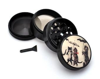 Herb Grinder - Black Aluminum Alloy Cats with Umbrellas Picture Grinder
