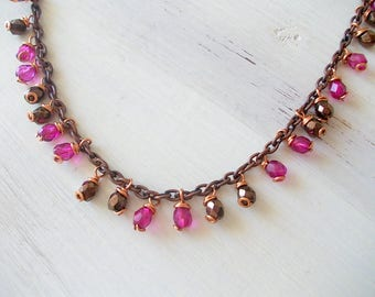 Necklace with glass pendant beads, brown and fuchsia beads, faceted glass, fashion accessory, gift for you, galentines day