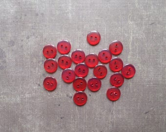 40 buttons round transparent red 1.1 cm