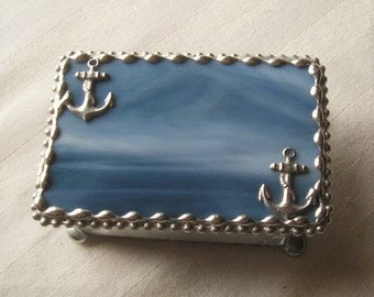 Stained Glass Jewelry Box|Anchor|Anchor Jewelry Box|Anchor Box|Steel Blue|Jewelry|Jewelry Storage|Anchor Design|Handcrafted|Made in USA