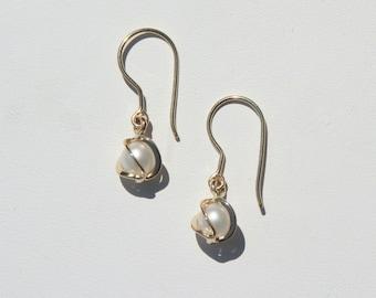 14k Caged Pearl Earrings
