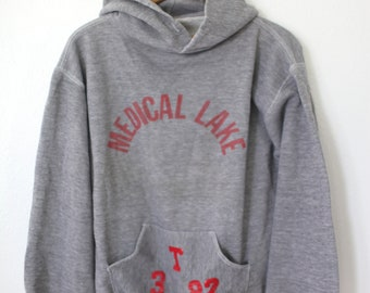 vintage '82 medical lake school heathered gray hoodie sweatshirt