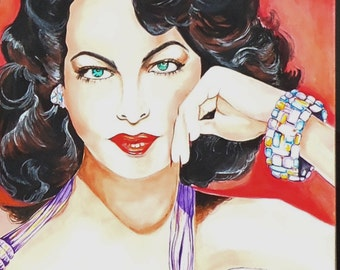 Ava Gardner Original Large Watercolor 22 x 30 Inches Unframed