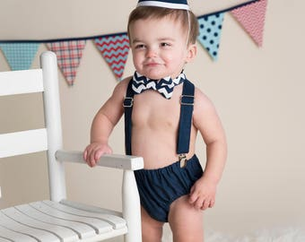 Boy Cake Smash Outfit, Boy Girl Twin Cake Smash, Boy Cake Smash, Boy 1st Birthday Set, 1st Birthday, 1st Birthday, Navy and White Chevron