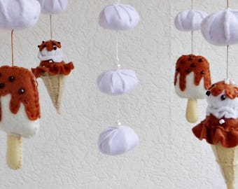Baby mobile Baby crib mobile Ice Cream Felt mobile Felt mobile Nursery decor Felt nursery mobile Ecology decor Unique mobile Ceiling mobile