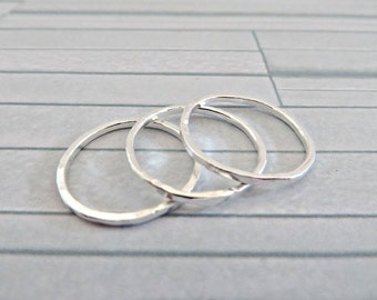 Silver stacking rings, Fine silver skinny rings, Fine silver rings, Delicate silver rings, Hand forged rings, Thin silver band, Made in UK