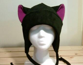 Black Cat - Purple Cat Ears - Kitty Cat Ears - Cat Fleece Hat - Aviator Earflap Hat - Cosplay Hat - Photo Prop Hat - Anime Hat - Manga Goth