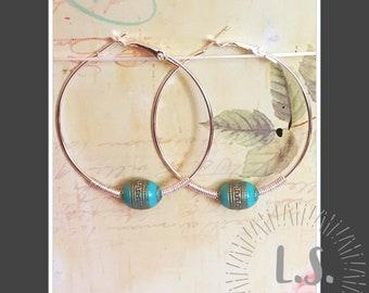 NEW handmade silver plated hoop earrings with green bead