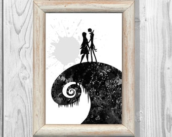 Nightmare Before Christmas Poster Watercolor Print Jack and Sally Print  Art Print  Wall Decor Instant Digital Download