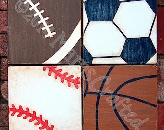 Vintage Sports 8x8 (Individual), Weathered Wood Wall Art