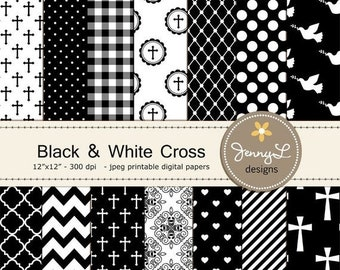 50% OFF Black and White Baptism Digital Papers, Cross, First Communion Digital Scrapbooking, Christening, Holy Week, Wedding