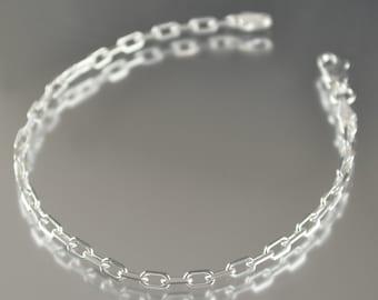 Unisex Sterling silver bracelet 7 inch Sterling silver Bracelet Rectangle design, Made in Italy gifts for her