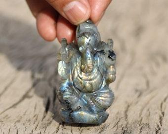 "Labradoride Ganesh,Natural Labradorite Gemstone Hand Carved Ganesh Figurine , Hindu God Ganesha Statue"" A Unique Gift"", Religious Sculpture"