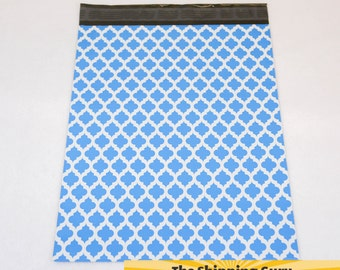 100 12x15 Blue Quatrefoil Poly Mailers with OPTIONAL Shipping Labels