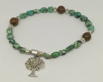 Wood and African turquoise bracelet